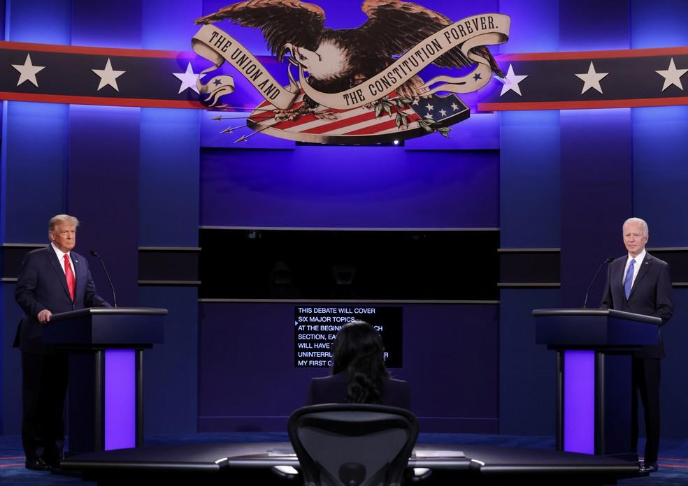 Trump e Biden no último debate antes da eleição — Foto: Reuters/Chip Somodevilla/Pool