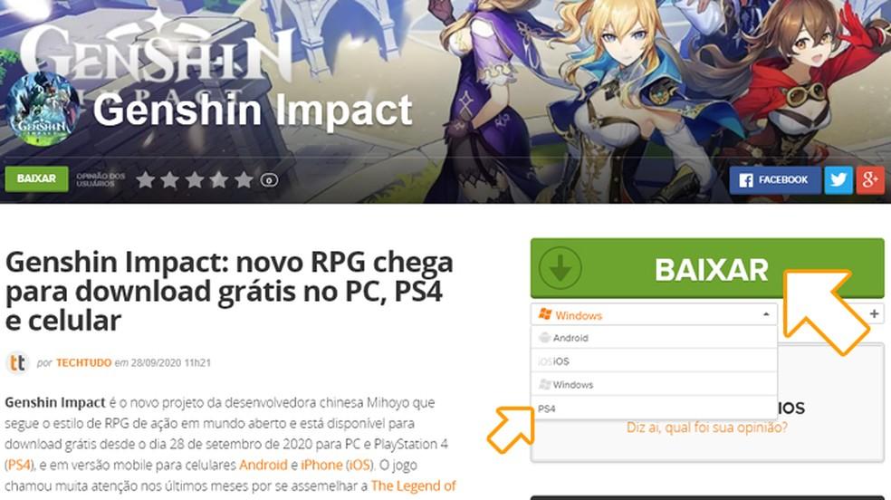 """Selecione o PS4 entre as plataformas disponíveis de Genshin Impact e clique em """"Baixar"""" — Foto: Reprodução/Rafael Monteiro"""