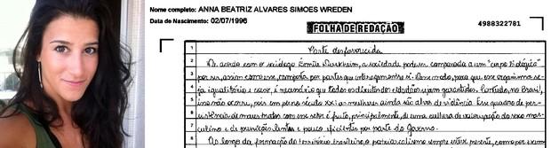 Trecho da redação da estudante Anna Beatriz Wreden (Foto: Arquivo pessoal/ Divulgação)