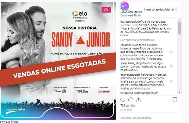 Ingressos esgotados para shows de Sandy e Junior (Foto: Reprodução/Instagram)