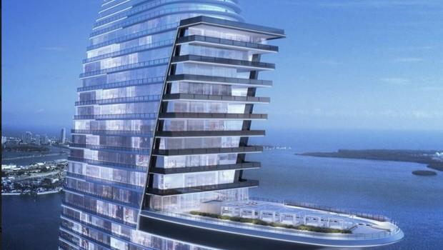 O design de barco a vela do prédio ainda permite que os andares superiores sejam todos reservados para nada menos do que sete coberturas (Foto: Divulgação)