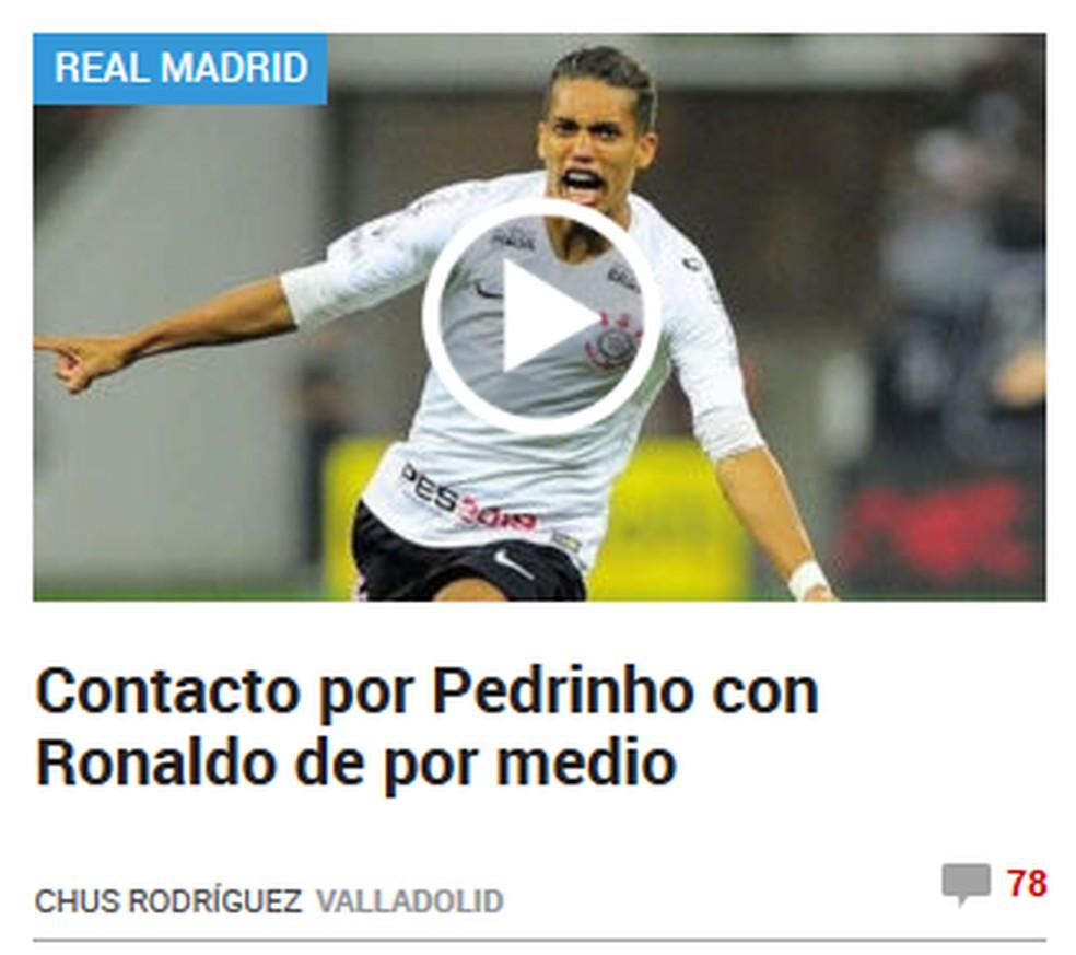 """Pedrinho, do Corinthians, é destaque no site do """"Marca"""" — Foto: Reprodução/Marca"""