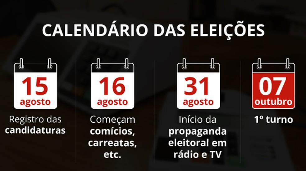 Selo calendario eleições (Foto: Infografia: Juliane Souza/Editoria de Arte G1)