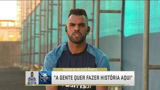 """Maicon """"profetiza"""" venda de Arthur ao Barça e quer perpetuar conquistas no Grêmio"""