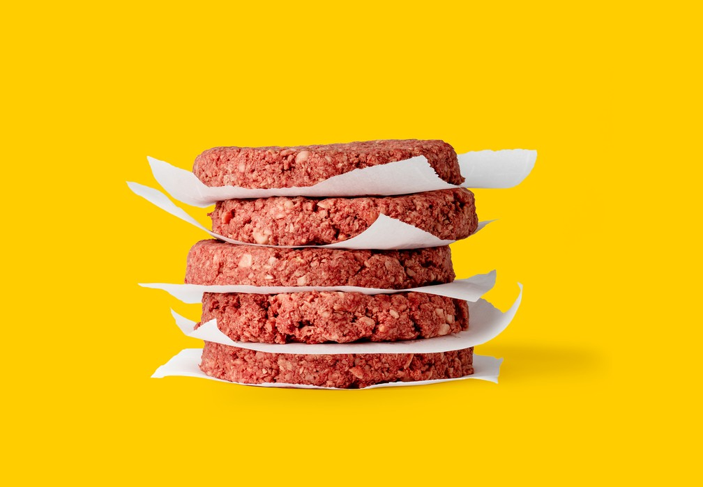 Hamburguer vegetal da empresa americana Beyond Meat — Foto: The Good Food Institute