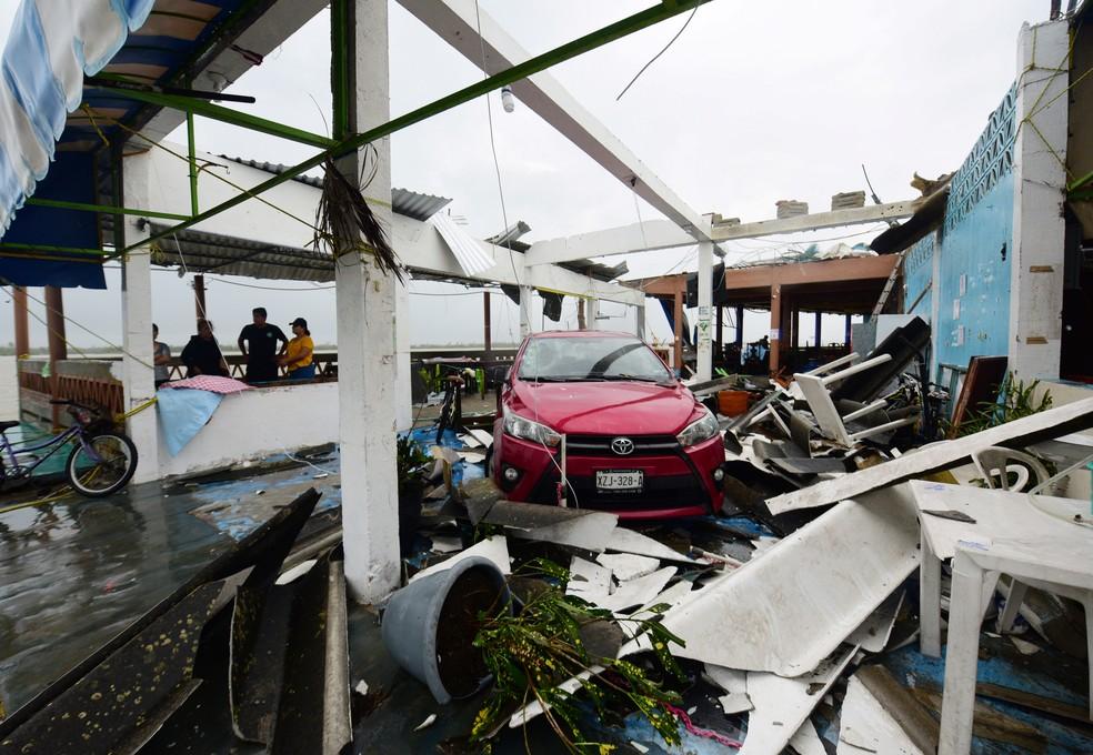 Passagem do furacão Grace na Costa do México. — Foto: REUTERS/Oscar Martinez