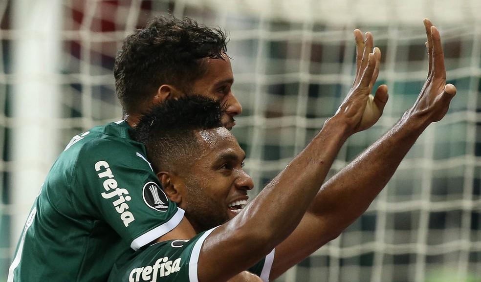 Borja comemora gol do Palmeiras fazendo 9 com as mãos — Foto: César Greco/Ag.Palmeiras