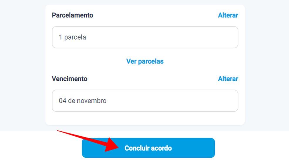 Revise os detalhes antes de concluir a negociação e gerar o boleto para pagamento — Foto: Reprodução/Paulo Alves