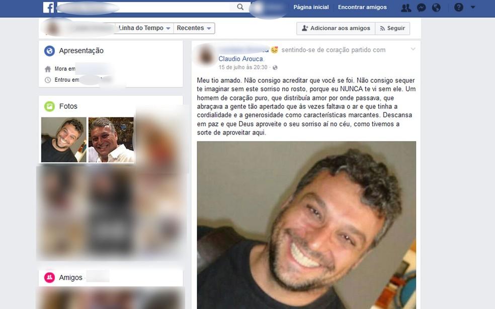 Claudio Arouca recebe homenagem de parente no Facebook: 'homem de coração puro' (Foto: Reprodução/Facebook)