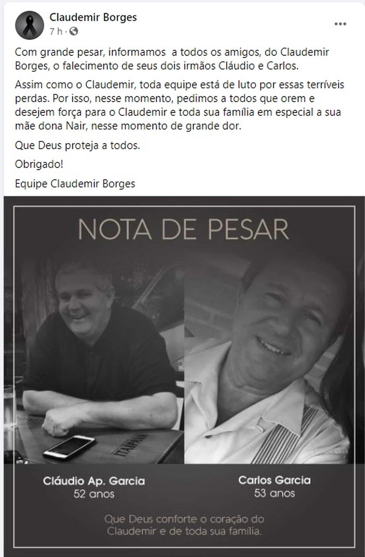 Prefeito interino de Leme fez publicação nas redes sociais comunicando o falecimento dos irmãos — Foto: Reprodução/Facebook