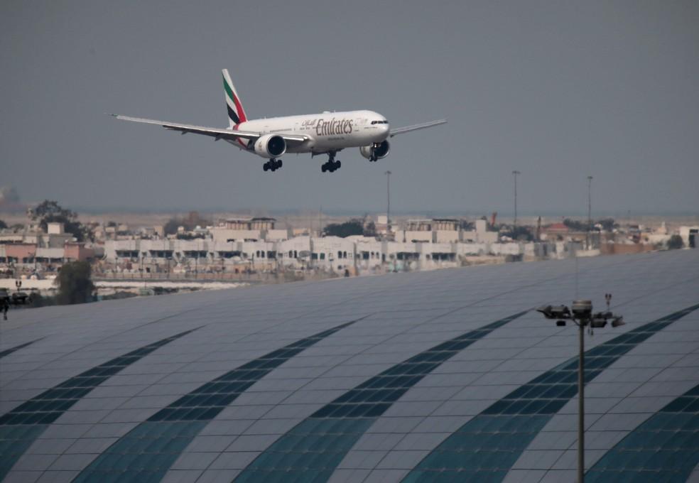 Avião pousando no Aeroporto Internacional de Dubai em fevereiro de 2019 — Foto: REUTERS/Christopher Pike/File Photo