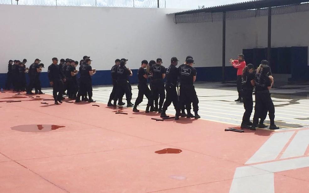 Novos agentes penitenciários do RN durante treinamento  (Foto: Sejuc/Divulgação)
