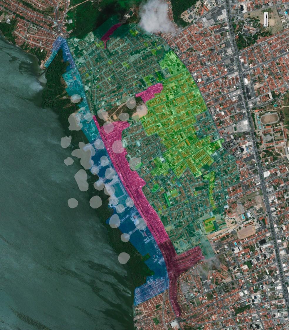 Barreira no Mutange, indicada pela cor rosa, aparece no mapa de risco como área de onde os moradores devem ser retirados — Foto: Reprodução