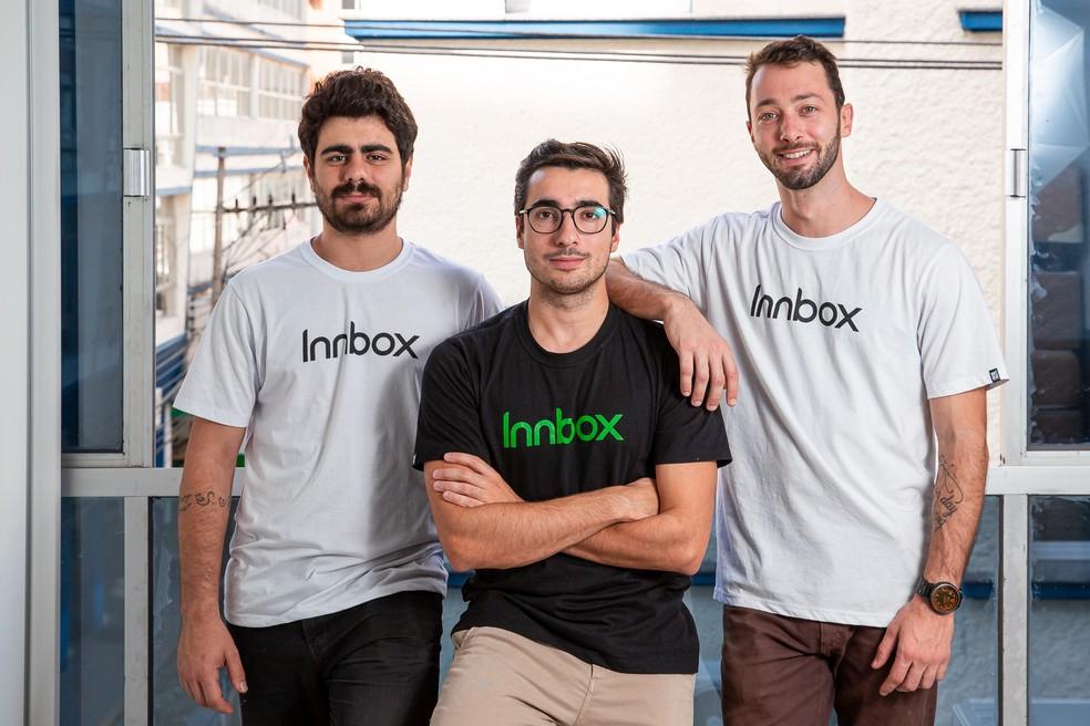 Matheus Neckel, Walmir Junior e Jonas Furlanetto, da Innbox — Foto: José Somensi/Divulgação