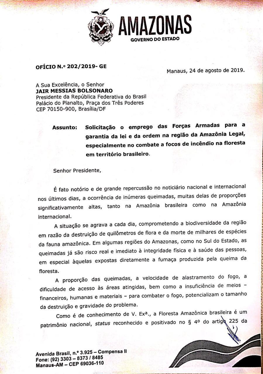 'Amazonas não é capaz de reverter sozinho' diz governador Wilson em pedido de atuação das Forças Armadas contra queimadas - Notícias - Plantão Diário