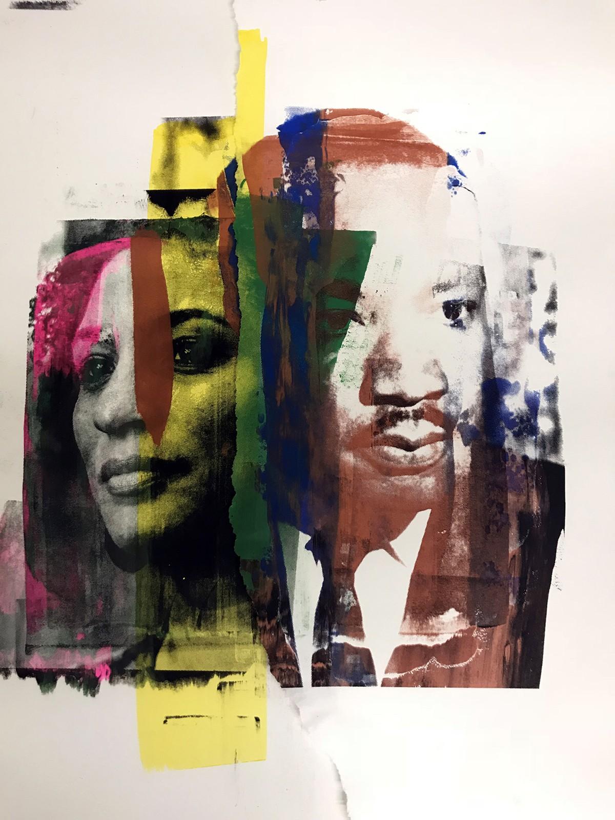 Serigrafia com os rostos de Marielle e Martin Luther King