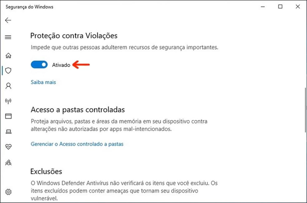Proteção contra Violações ativada no painel de Segurança do Windows 10 — Foto: Reprodução/Raquel Freire