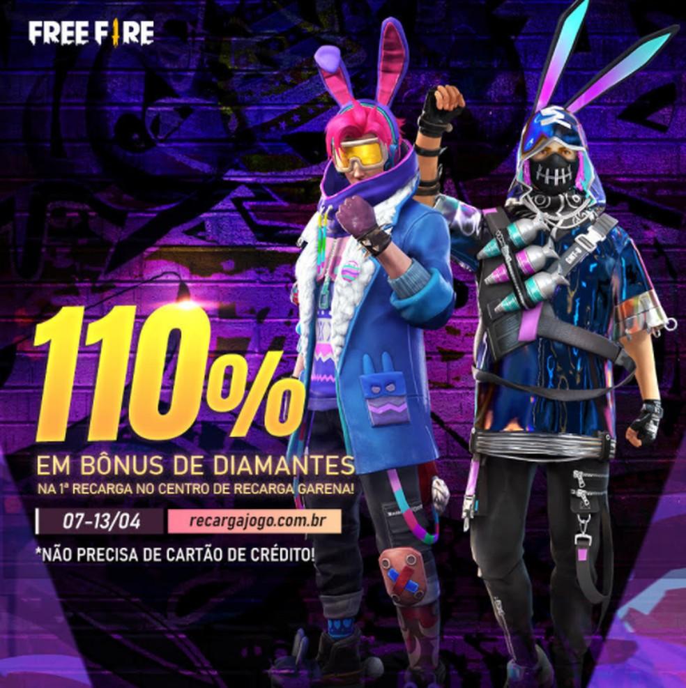 Free Fire: evento recarga de diamantes dá bônus de até 110% | free fire