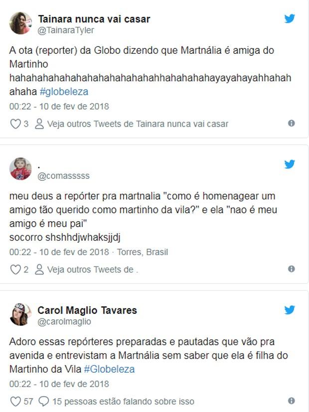 Patricia Falcoski repercute na web após gafe com Mart'nália (Foto: Reprodução/Twitter)