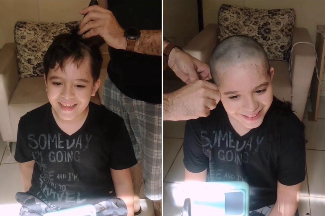 Menino raspa cabelo em apoio a amigo internado com câncer em Barretos, SP: 'Sempre iguais'