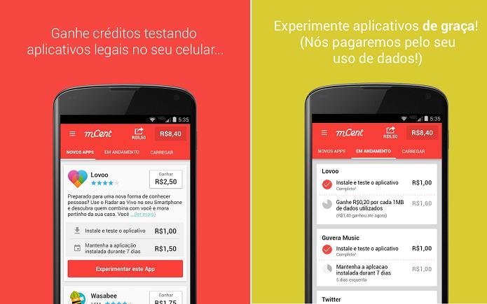 mCent é um aplicativo para usuários testarem apps e ganharem créditos para o celular (Foto: Divulgação)