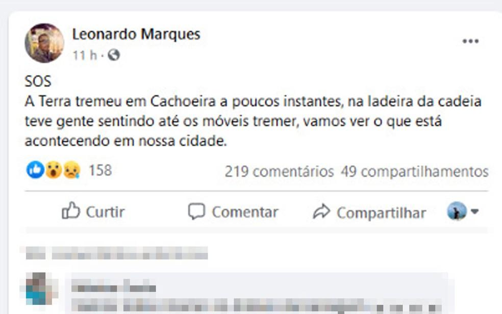 Moradores de Cachoeira, na Bahia, relataram tremor de terra no município  — Foto: Reprodução/Facebook