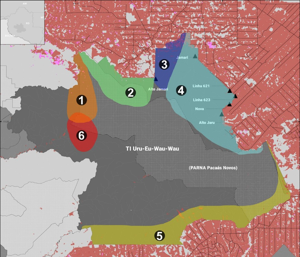 Mapa mostra pontos já invadidos na TI Uru-eu-wau-wau. — Foto: Divulgação/Uru-eu-wau-wau