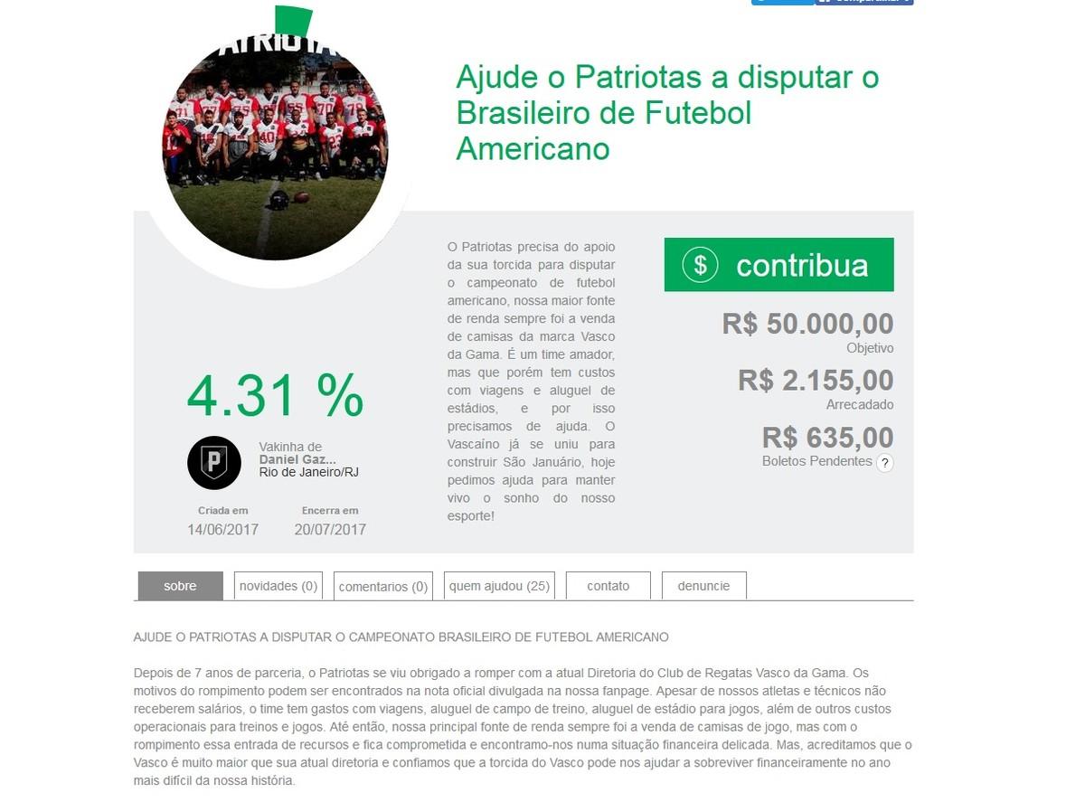 Ex-time de futebol americano do Vasco recorre a vaquinha para jogar  Brasileiro  81c9ac1455e8d