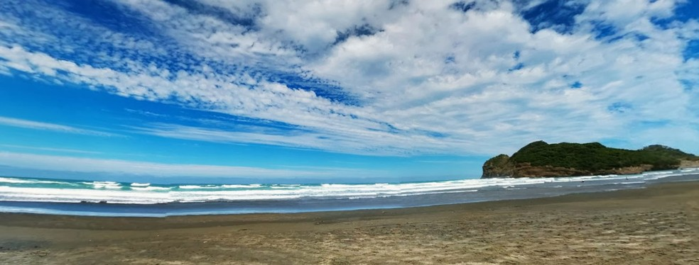 Praia de Bethells, na Nova Zelândia — Foto: Reprodução Google