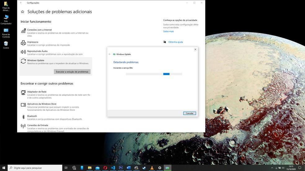 O Windows 10 vai diagnosticar problemas e oferecer correções automáticas, se for o caso — Foto: Reprodução/Filipe Garrett