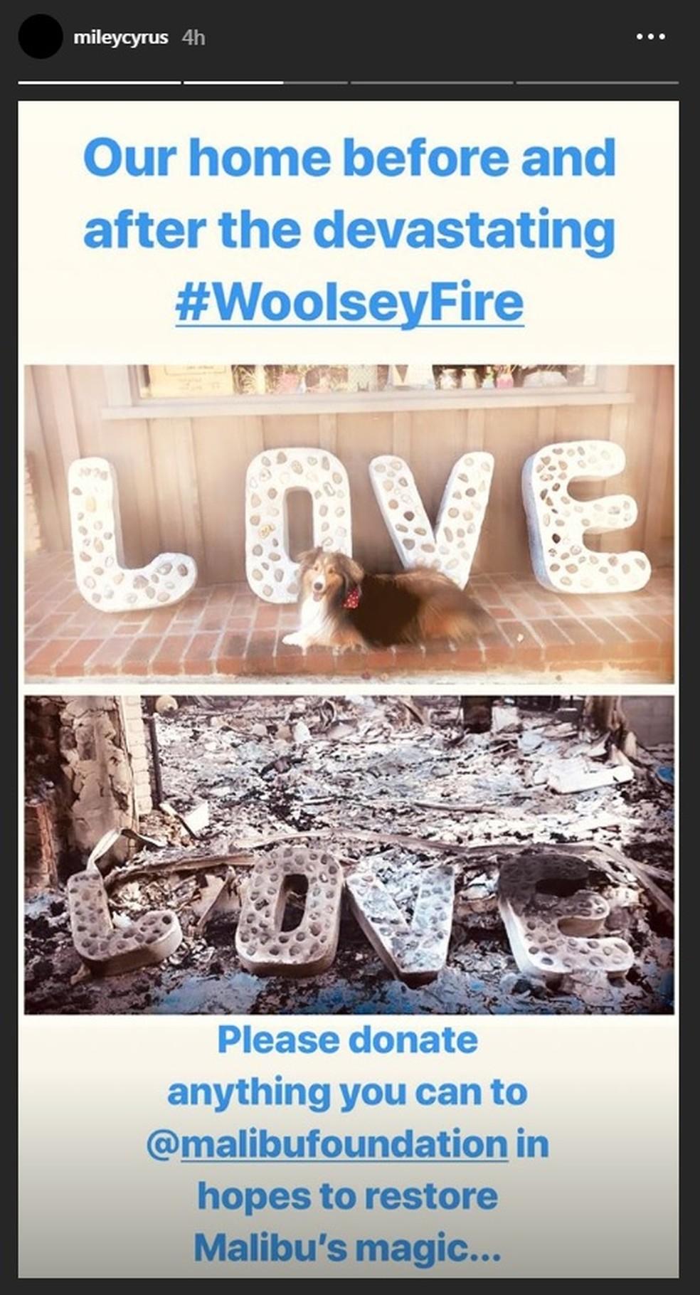 Miley Cyrus compartilha antes e depois de ambiente de sua casa, que foi completamente destruída pelo incêndio na Califórnia — Foto: Reprodução/Instagram