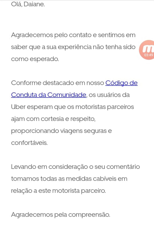 Uber afirma que tomará medidas em relação ao motorista que se negou a prestar socorro — Foto: Reprodução