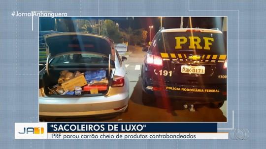 PRF apreende carro de luxo com R$ 500 mil em produtos contrabandeados