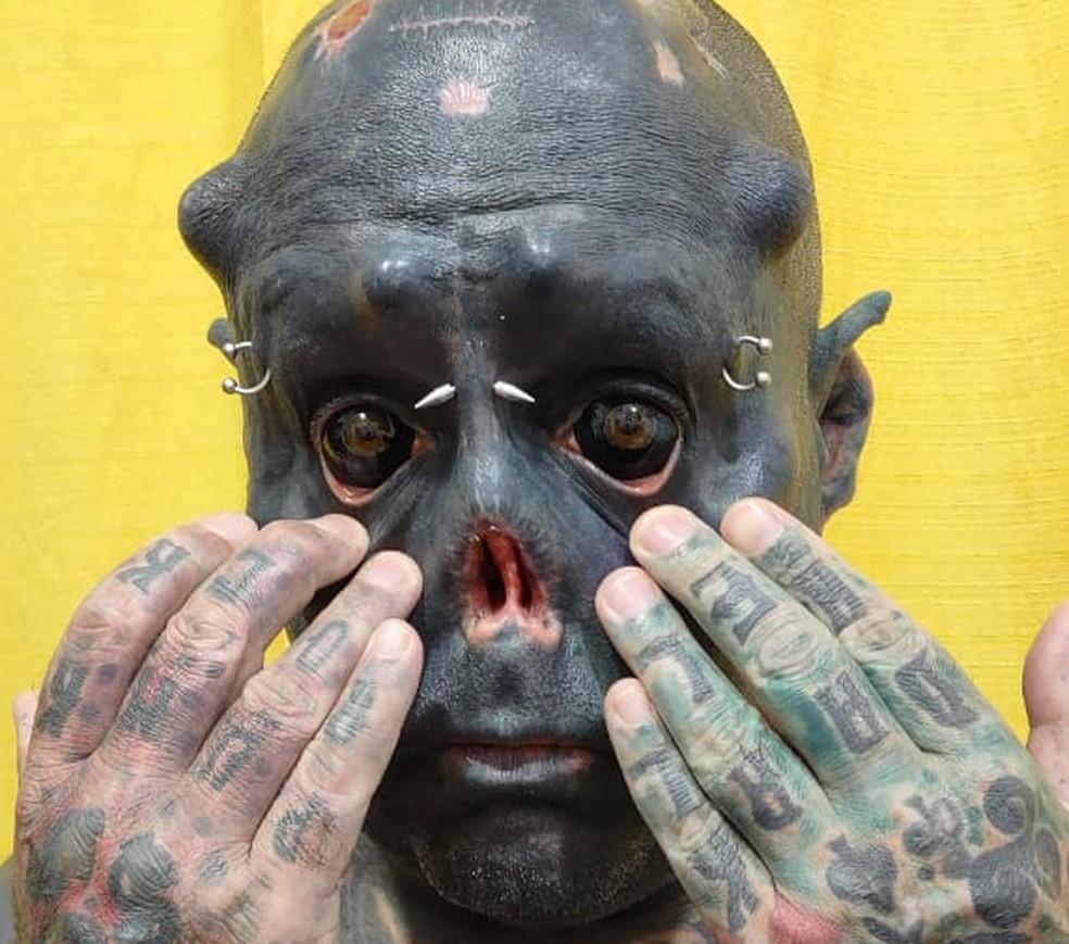 Morador de Tatuí tem 99% do corpo tatuado — Foto: Fernando Franco/Arquivo pessoal