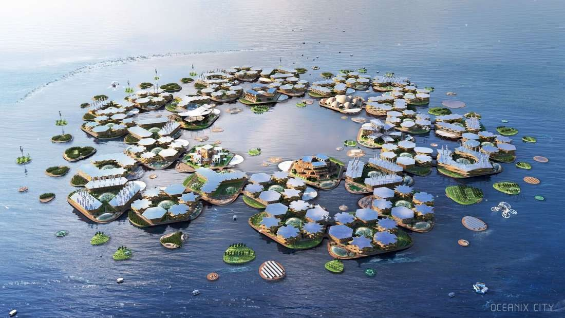 Projeto da cidade flutuante OCEANIX City (Foto: OCEANIX / BIG-Bjarke Ingels Group)