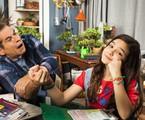 Leandro Hassum  e Mel Maia nos bastidores de 'A cara do pai' | Globo/Estevam Avellar