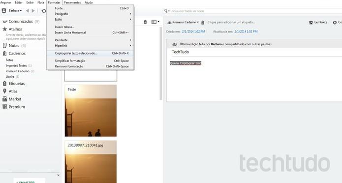 Evernote permite que textos sejam criptografados (Foto: Reprodução/Barbara Mannara)