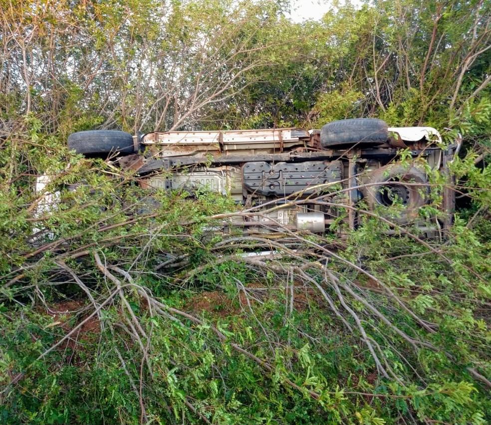 Caminhonete capotou em matagal na região metropolitana — Foto: Divulgação