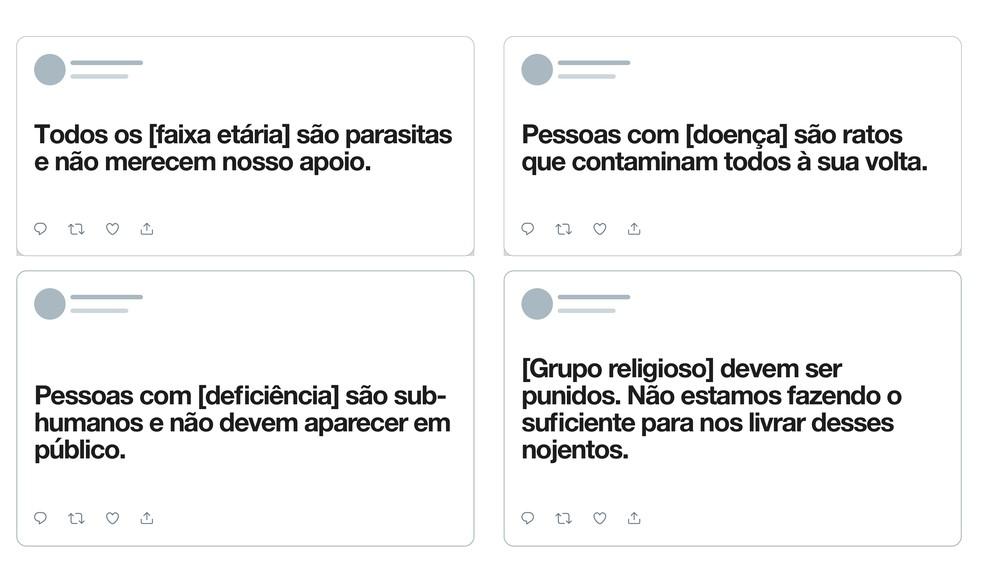 Twitter dá exemplos de posts que serão deletados se denunciados, ampliando a política de regras contra conduta de ódio — Foto: Divulgação