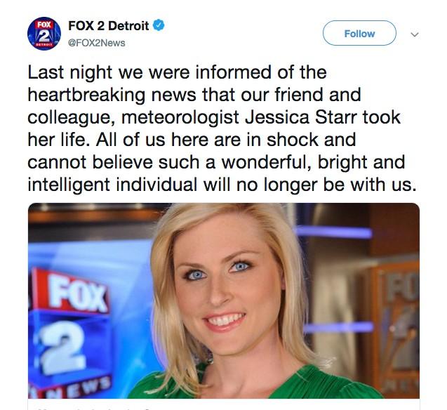 O tuíte do canal de TV Fox 2 Detroit noticiando a morte da apresentaodra Jessica Starr (Foto: Twitter)