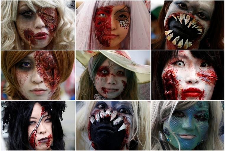Montagem mostra alguns participantes de um desfile de Halloween em Kawasaki, no Japão (Foto: Kim Kyung-hoon/Reuters)