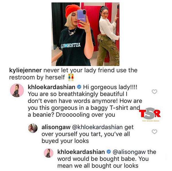 O bate-boca entre Khloé Kardashian e uma seguidora de Kylie Jenner nas redes sociais (Foto: Instagram)