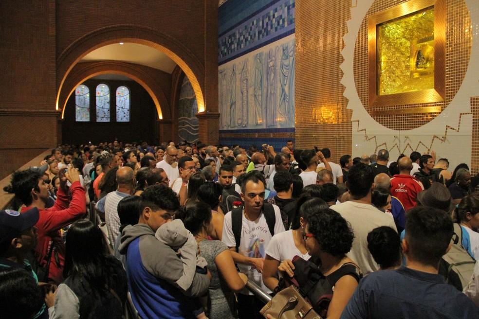 Temer mandou mensagem aos devotos de Nossa Senhora Aparecida (Foto: Carlos Santos/G1)