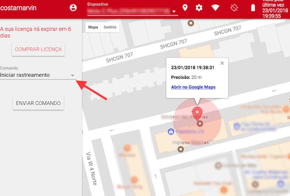 Rastreamento do celular pelo serviço Cerberus na web (Foto: Reprodução/Marvin Costa)