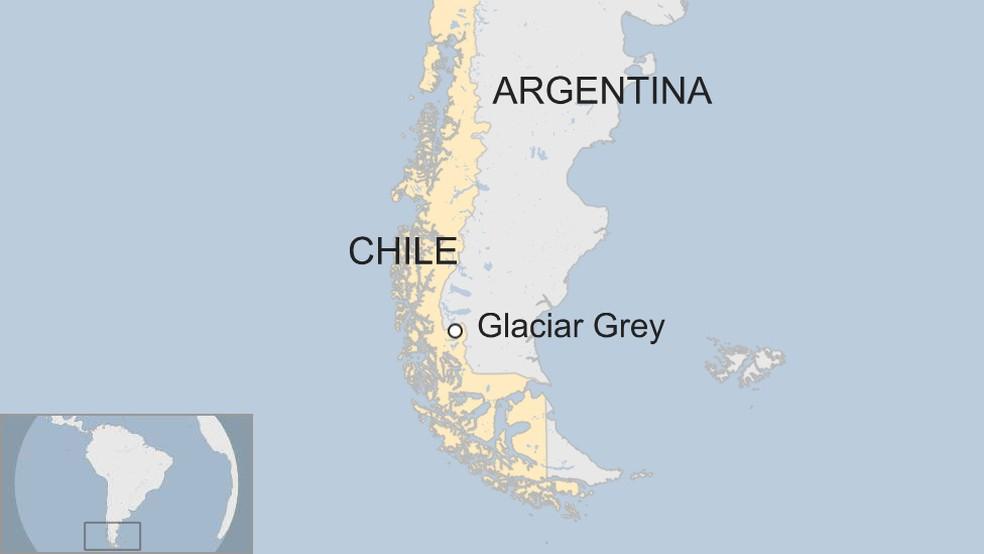 Localização do iceberg na parte sul do Chile (Foto: BBC )