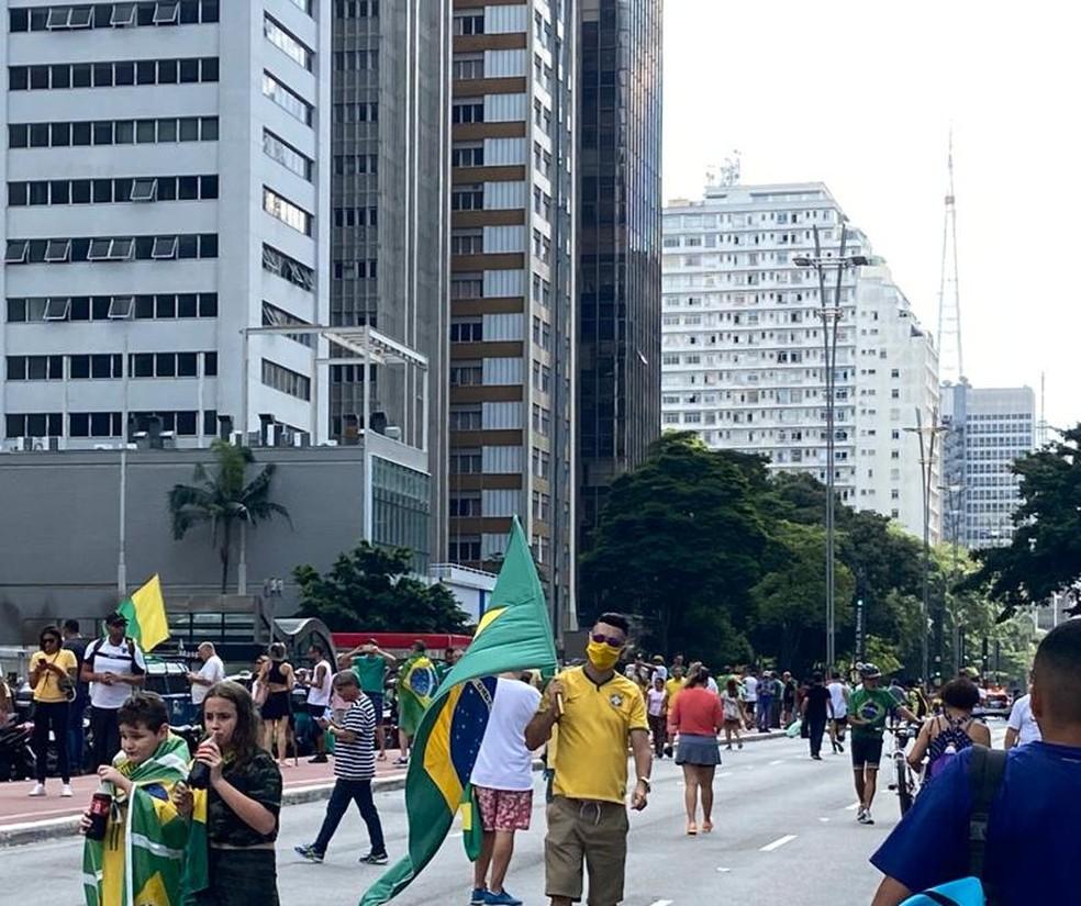 Manifestante protesta na Avenida Paulista usando máscara  — Foto: Patrícia Figueiredo/G1