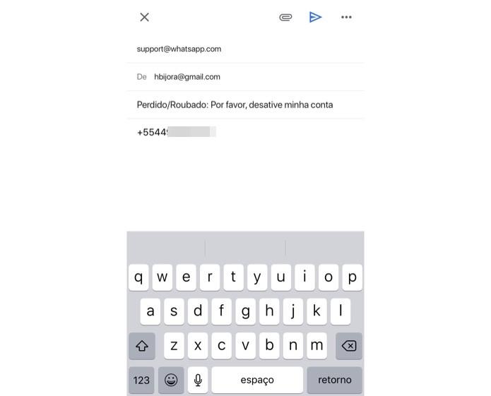 Escreva um e-mail para o suporte do WhatsApp — Foto: Reprodução/Helito Beggiora
