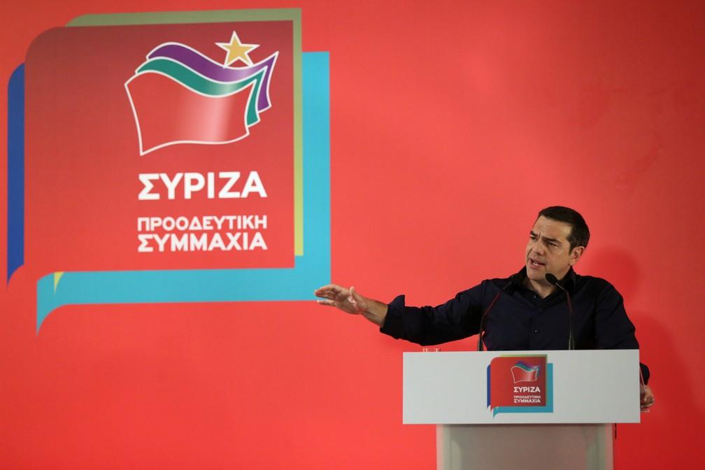 Alexis Tsipras, primeiro-ministro da Grécia, durante discurso após derrota nas eleições europeias — Foto: Costas Baltas/Reuters