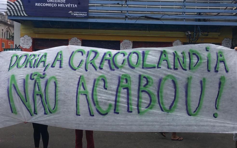 Grupo protestou contra ações da gestão municipal na Cracolândia na tarde desta terça (21) (Foto: Arquivo Pessoal )