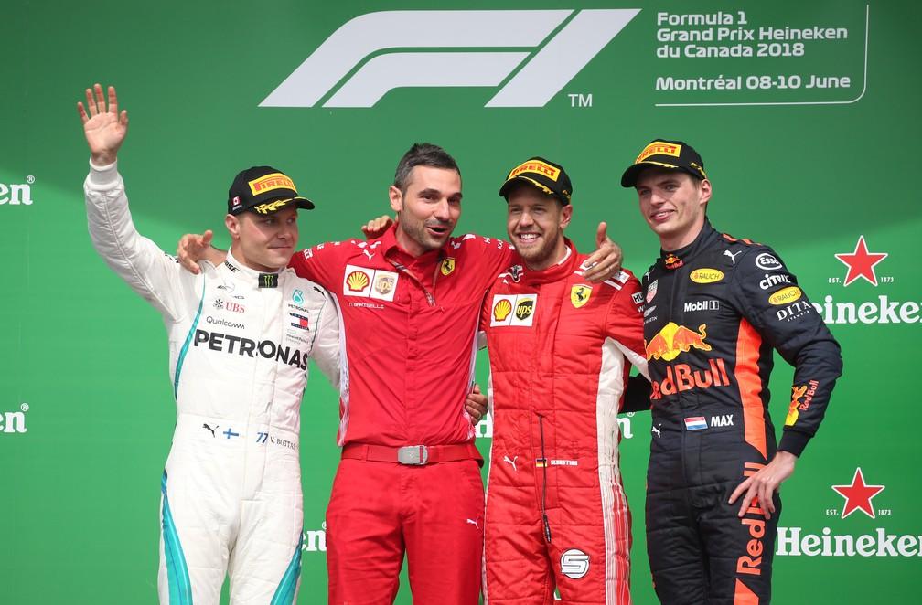 Bottas, Vettel e Verstappen formaram pódio no Canadá (Foto: Reuters)